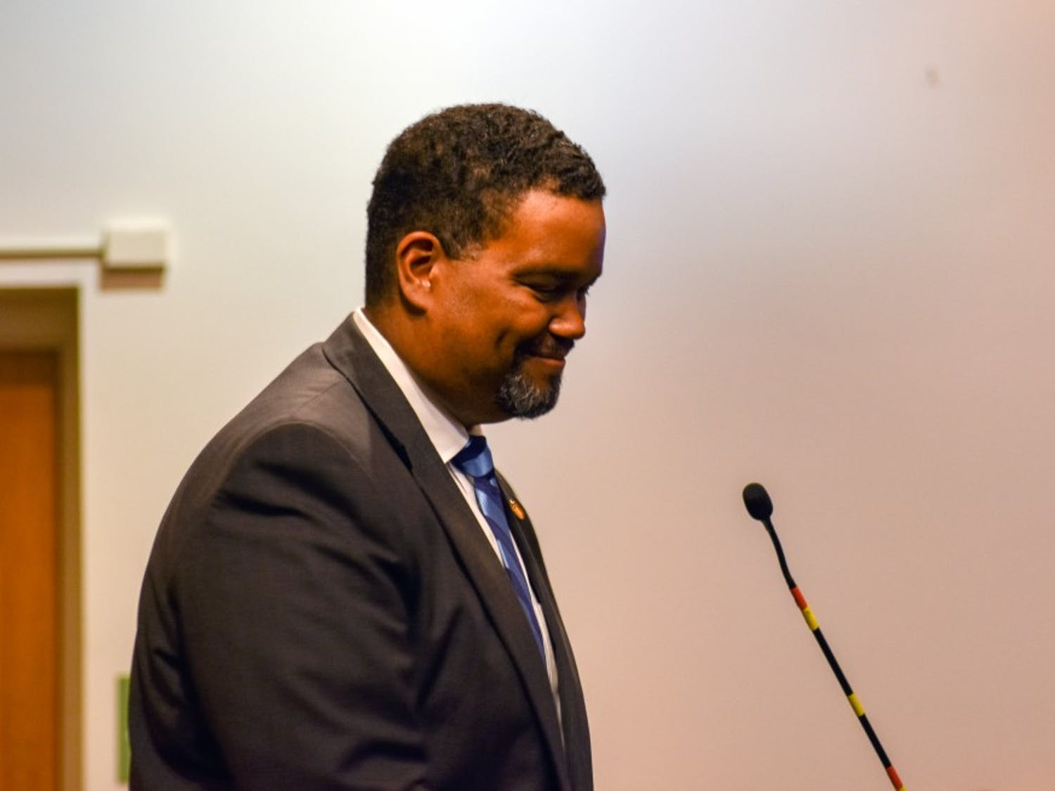 Maurice Jones, newly appointed Town Manager, addresses the Town Council of Chapel Hill.