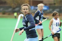 Senior Loren Shealy, a senior Robertson Scholar, heads back on defense during UNC's 3-0 victory against Duke. She scored the Tar Heels' first goal.