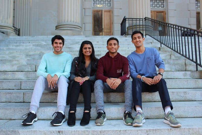 Nikhil Sachdeva, Khushbu Patel, Kishan Patel and Sahil Vasa (From left to right) of the executive board of Sangam, a South Asian student organization at UNC. Sangam will be hosting an event this Friday evening where students of the triangle area are invited to come dance in celebration of the Hindu festival, Navaratri.