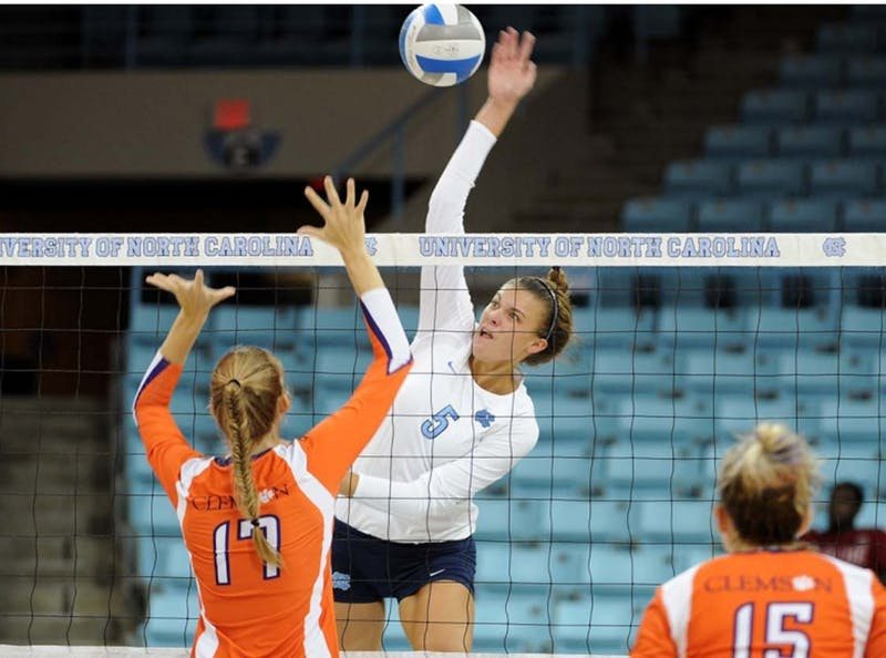 Freshman middle blocker Paige Neuenfeldt has been a powerful young force for the North Carolina volleyball team early on in the 2012 season.  	Photo courtesy of Jeffrey Camarat.