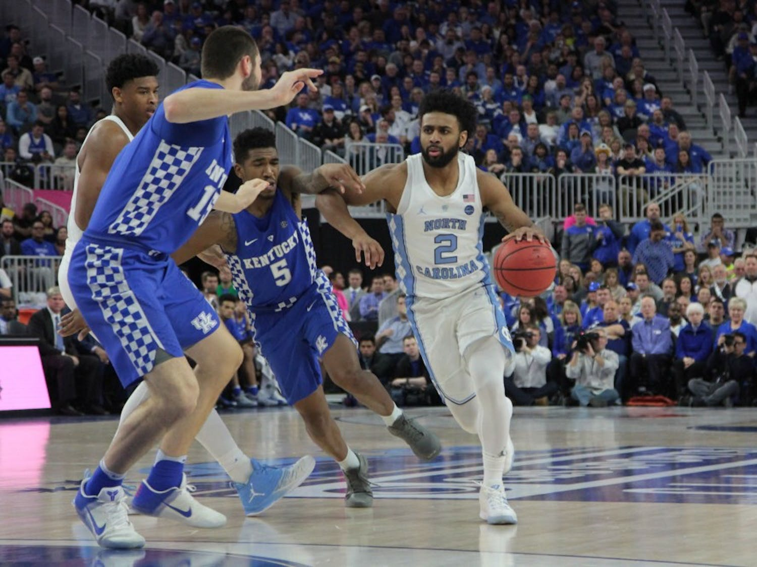 UNC guard Joel Berry (2) drives toward the basket against Kentucky at the CBS Sports Classic on Saturday.