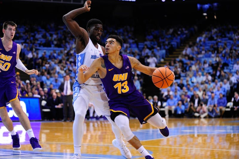 First year Jalek Felton (5) guards against a UNI player Friday night.