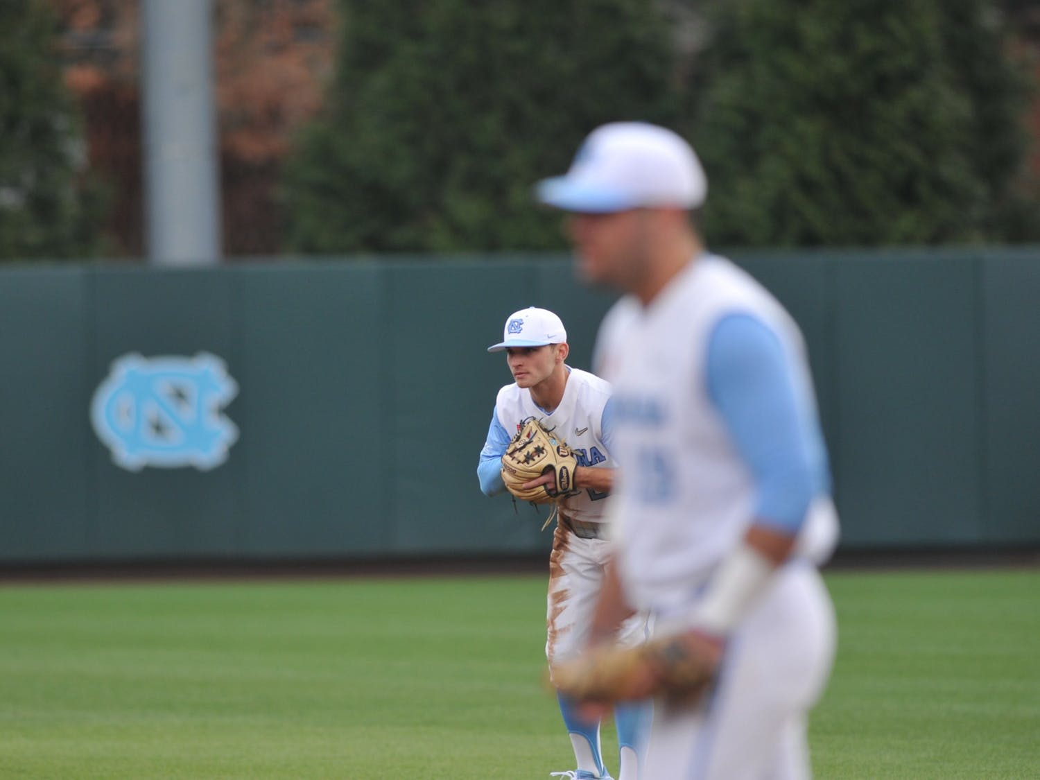 (From left) Junior Mikey Madej and Sophomore Aaron Sabato play on Tuesday, Feb. 25, 2020 in Boshamer Stadium against NC A&T. UNC beat NC A&T 8-0.