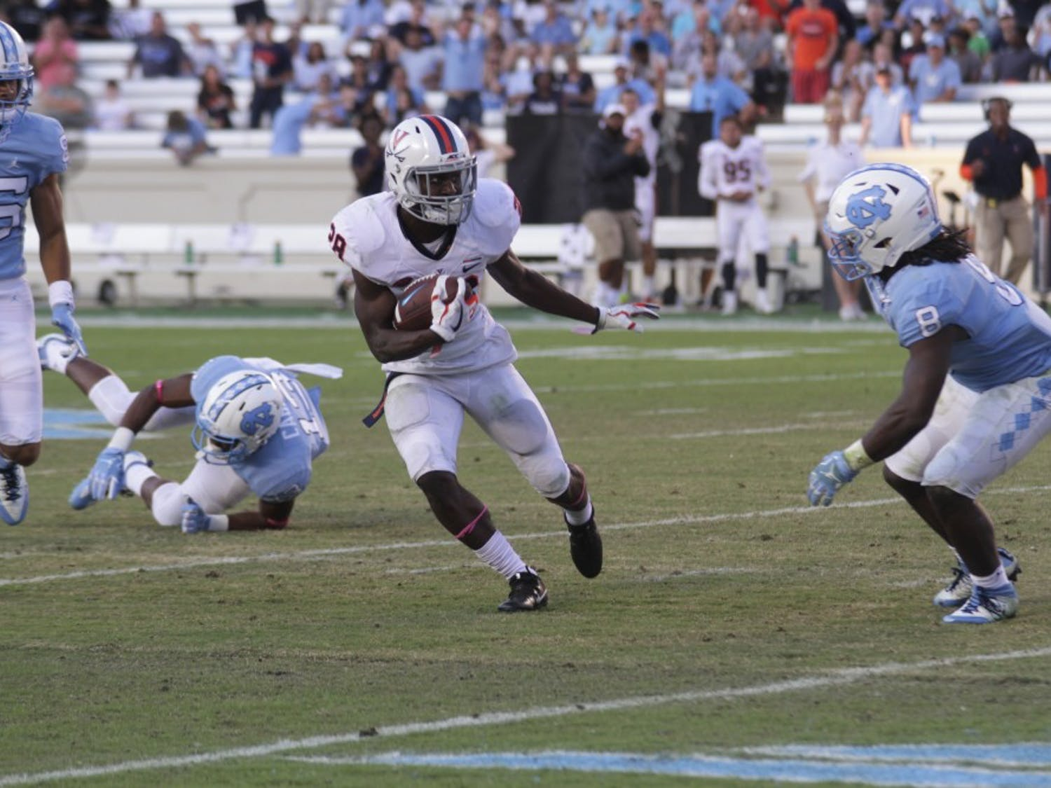 The North Carolina football team lost, 20-14, to Virginia on Saturday, Oct. 14, in Kenan Stadium. The Tar Heels are now 1-6 and 0-4 in the ACC.