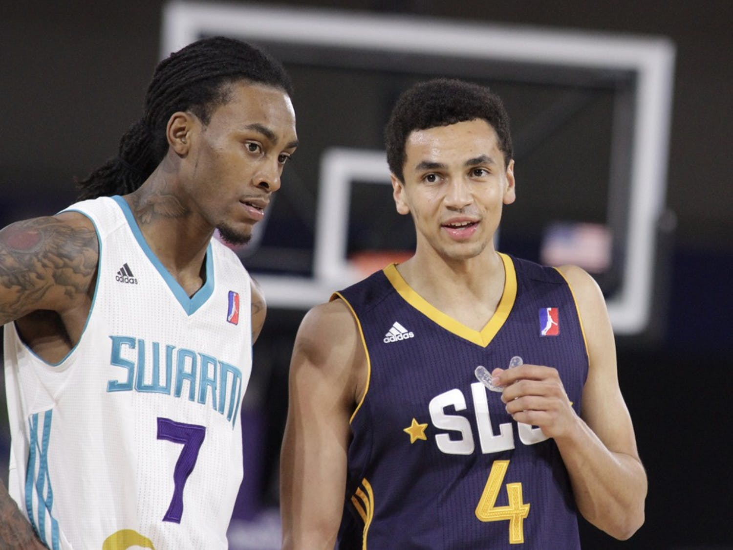 Former UNC guard Marcus Paige (4) returned to the state with the Salt Lake City Stars to take on the Greensboro Swarm. Greensboro defeated Salt Lake City 104-99.