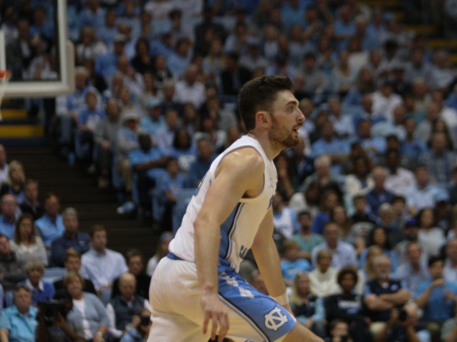 UNC guard Andrew Platek (3) dribbles the ball during the Notre Dame game on Wednesday, Nov. 6, 2019 in the Dean E. Smith Center. The Tar Heels beat the Fighting Irish 76-65.