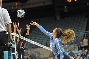 UNC outside hitter Parker Austin (23) spikes the ball at the game against Georgia Tech on Friday, Nov. 1, 2019 in the Carmichael Arena. UNC lost 2-3.