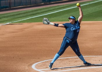 UNC junior pitcher Brittany Pickett (28) winds up for a pitch during a double header against the FSU Seminoles at G. Anderson Softball Stadium on Monday, April 15, 2019. The Tar Heels beat the Seminoles in both games.