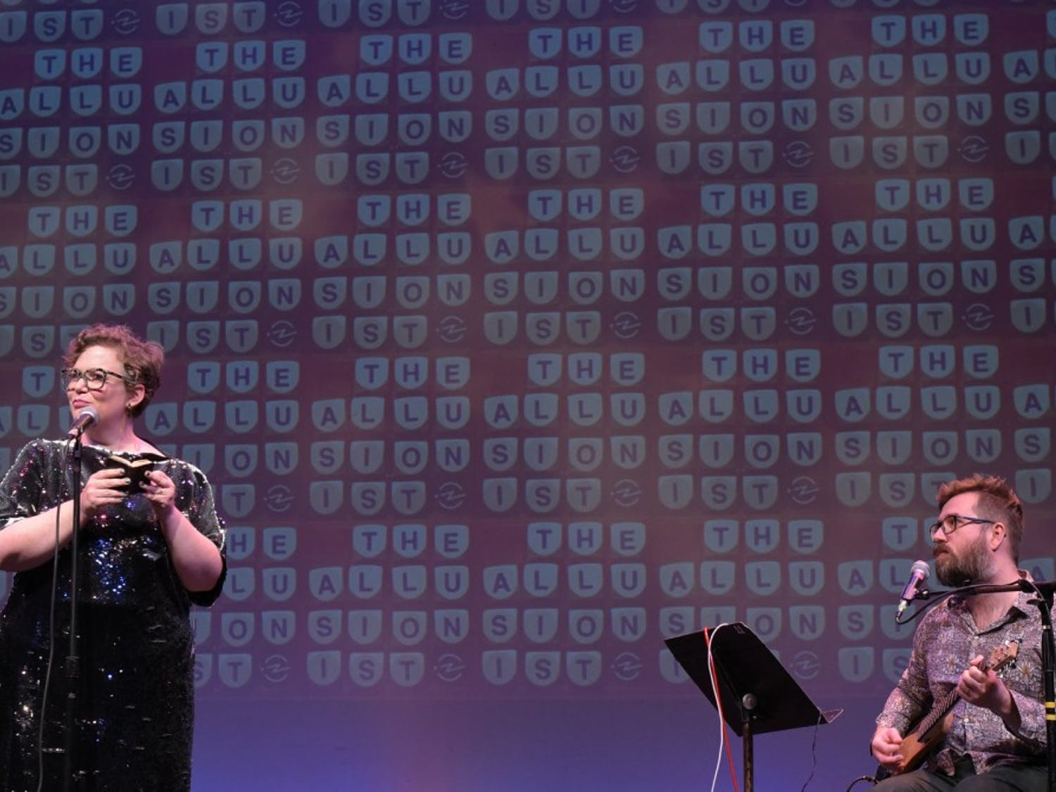 Helen Zaltzman (left) and Martin Austwick (right) performing at SF Sketchfest in January 2019, at the Brava Theatre in San Francisco. Photo courtesy of Baranduin Briggs.