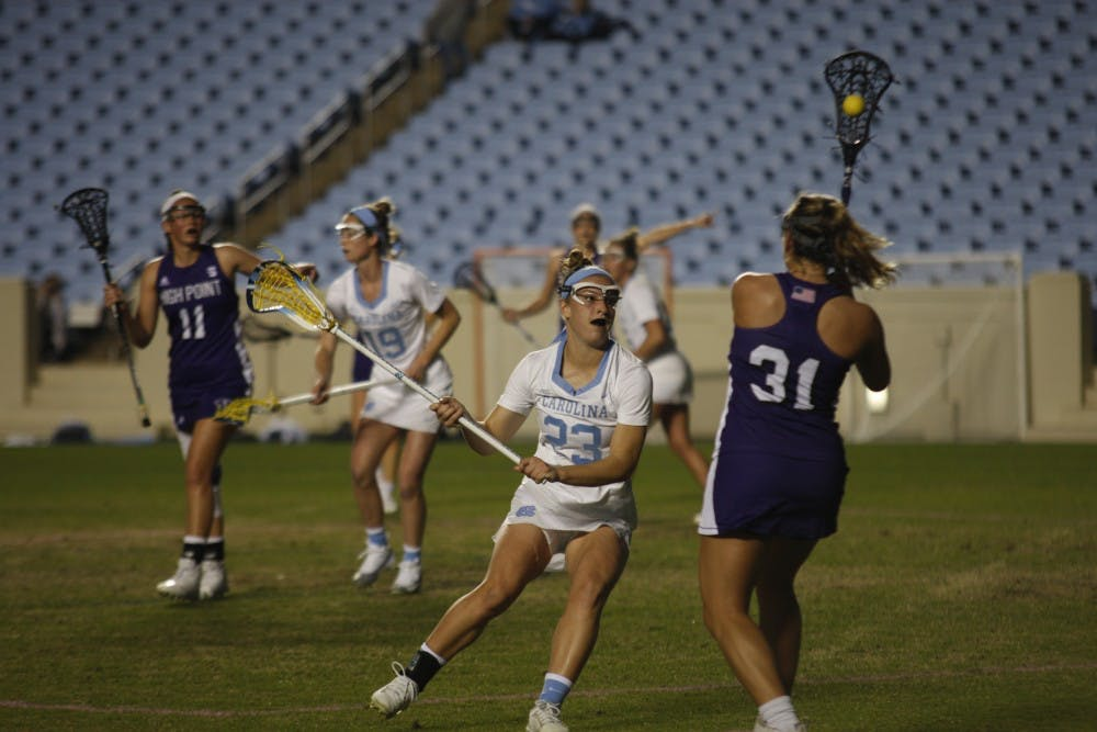 High Point Lacrosse >> No 2 Unc Women S Lacrosse Gets Past High Point 13 9 On