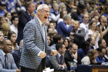 North Carolina head coach Roy Williams yells during a game against Duke on March 3 in Cameron Indoor Stadium.