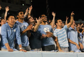 UNC students watch the game on Saturday, Sept. 7, 2019. UNC beat Miami 28-25.