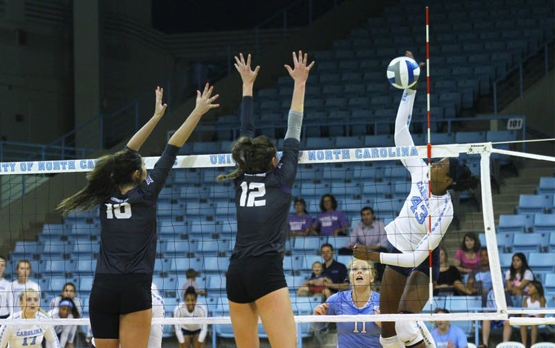 The Tar Heels defeated TCU Saturday evening in Carmichael Arena 3-0.