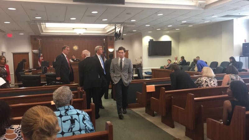 Chandler Kania leaves his pre-trial hearing at theOrange County Courthouse on Aug. 16.