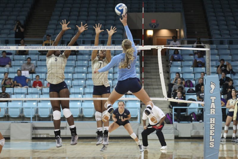 Women's volleyball beat George Washington University 3-0 on Friday September 13, 2013