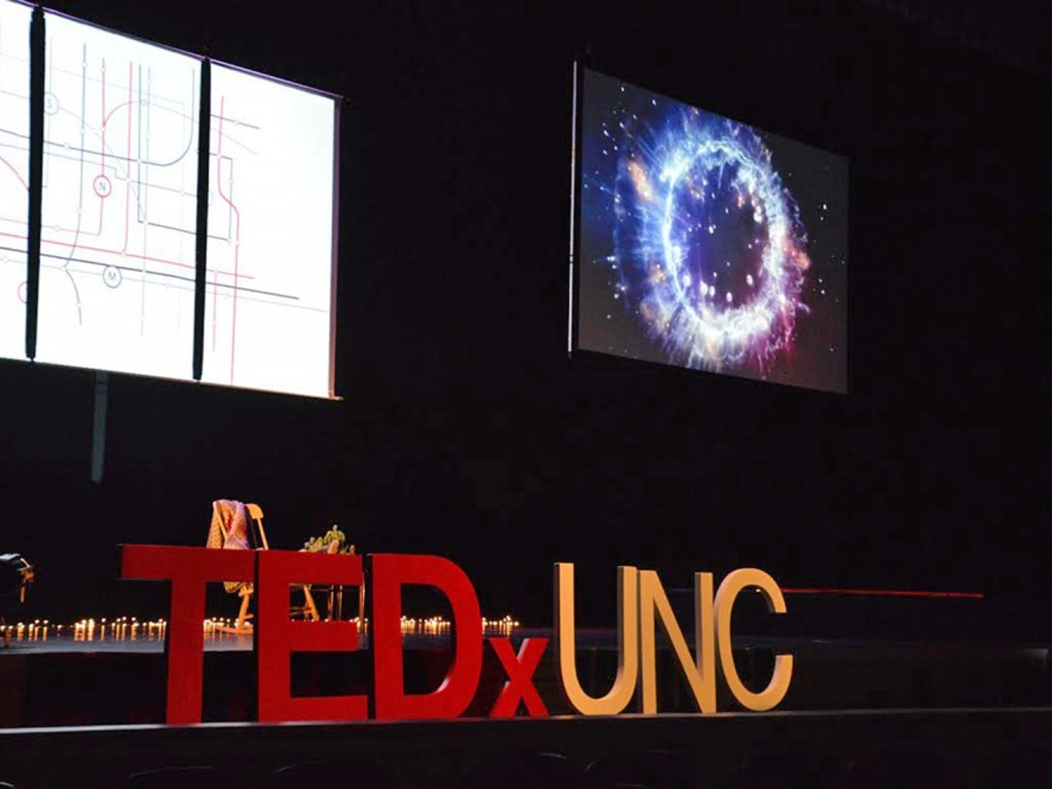 The TedxUNC stage in Memorial Hall in 2017. The TED X event took place over Zoom this year.