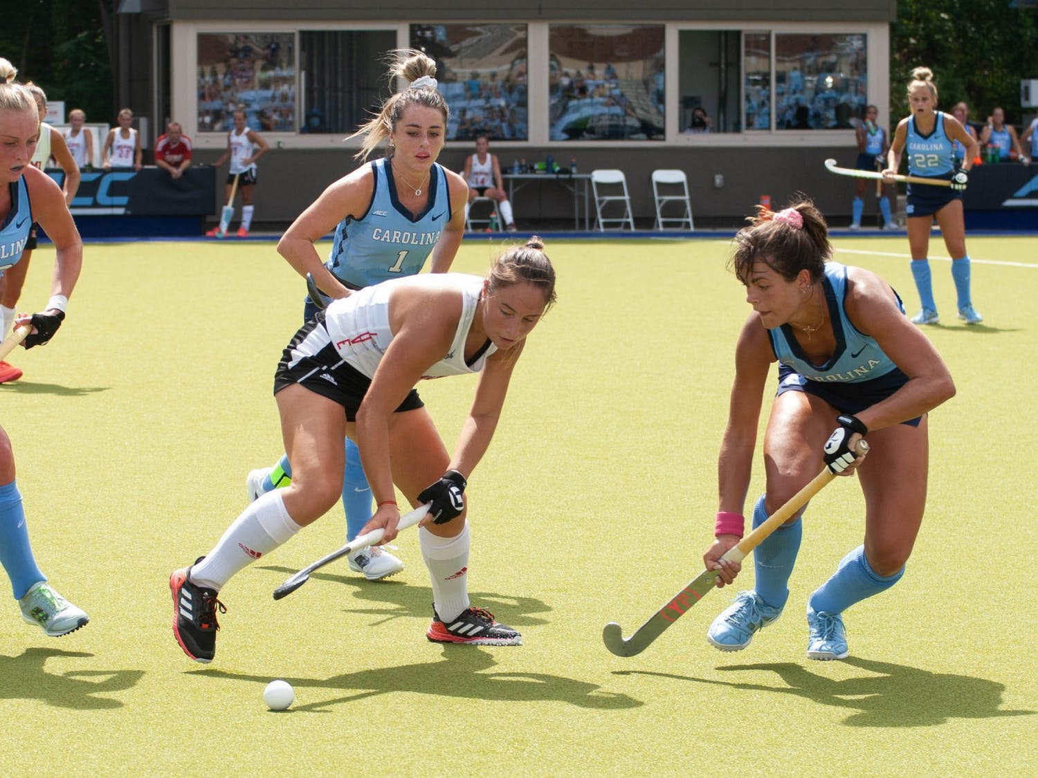 UNC senior forward Meredith Sholder (2) attempts to gain possession of the ball during the field hockey game against the Miami Redhawks at Karen Shelton Stadium on Sept. 19, 2021. The Tar Heels defeated the Redhawks 7-2.