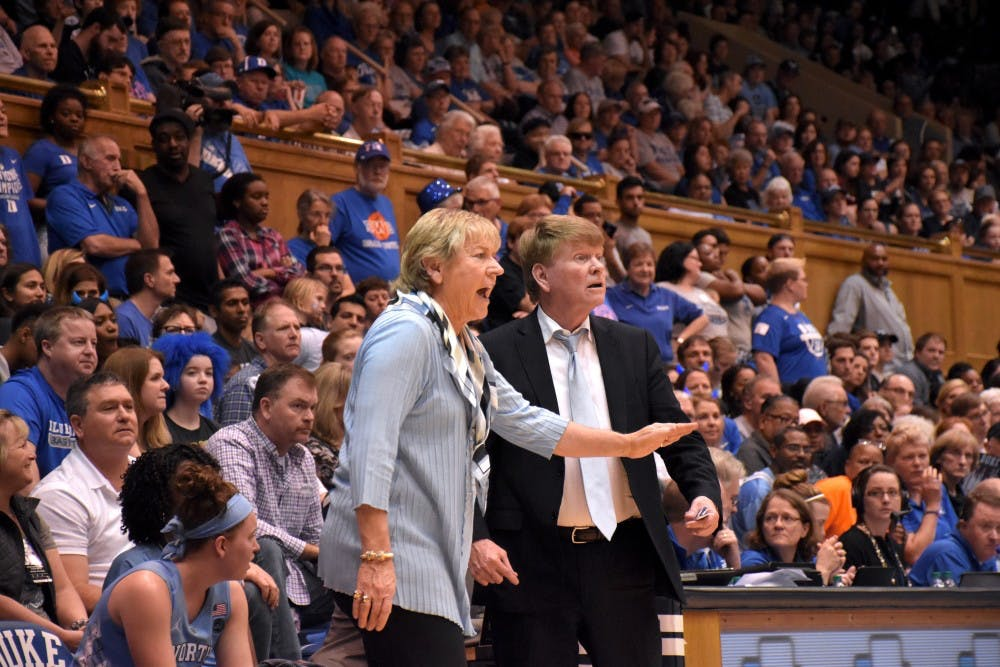 <p>UNC women's basketball head coach Sylvia Hatchell watches her team play against Duke on Feb. 25 in Cameron Indoor Stadium.</p>