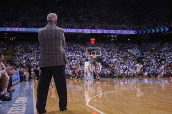 Head Coach Roy Williams watches the game against Boston College in the Smith Center on Saturday, Feb. 1, 2020. UNC lost to Boston College 71-70.