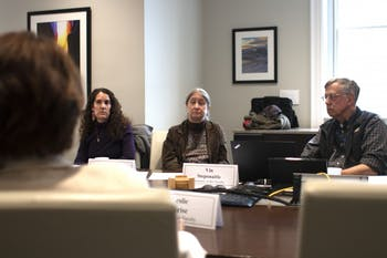 (From left) Ariana Vigil, Laurie McNeil and Secretary of the Faculty Vin Steponaitis, consider a point presented by Chair of the Faculty  Leslie Parise regarding a revision of the Chancellor Advisory Committee's charge during a meeting in South Building on Wednesday, March 20, 2019. The revision concerned the committee's power to nominate candidates for Secretary and Chair of the Faculty.