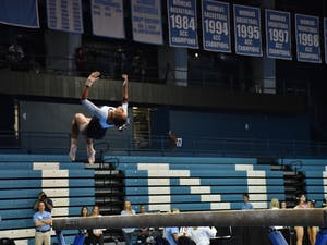 North Carolina sophomore Khazia Hislop competes against N.C. State on Jan. 12 at Carmichael Arena.