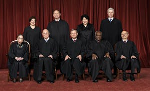 Front row, left to right: Associate Justice Ruth Bader Ginsburg, Associate Justice Anthony M. Kennedy, Chief Justice John G. Roberts, Jr., Associate Justice Clarence Thomas, Associate Justice Stephen G. Breyer. Back row: Associate Justice Elena Kagan, Associate Justice Samuel A. Alito, Jr., Associate Justice Sonia Sotomayor, Associate Justice Neil M. Gorsuch. Photo courtesy of Franz Jantzen, Collection of the Supreme Court of the United States