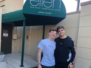 Hunter Sigmund (left) with boyfriend Jake Bain (right) at The Ellen Show. Contributed by Sigmund.