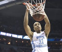 UNC forward Brice Johnson (11) dunks the ball during the 2016 ACC Championship March 12.