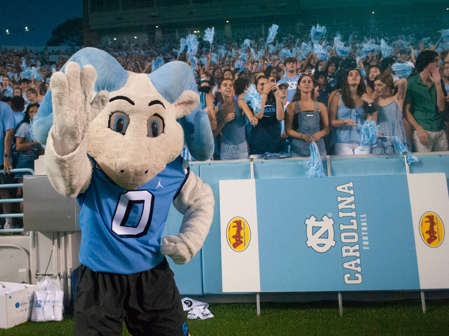 Ramses gets fans excited for UNC Football's second home game of the season, which was against the University of Virginia. UNC defeated the Cavaliers 59-39, their second win of the season.