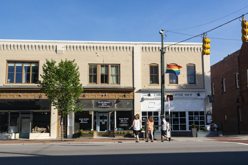 East Franklin facing South at Blue Spoon Microcreamery and Carolina Coffee Shop, two popular locations where students work, on Sunday, June 7, 2020.
