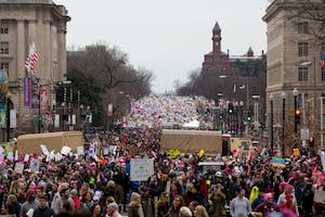 The crowd at the Women's March was estimated to consist of more than 500,000 people on Saturday.