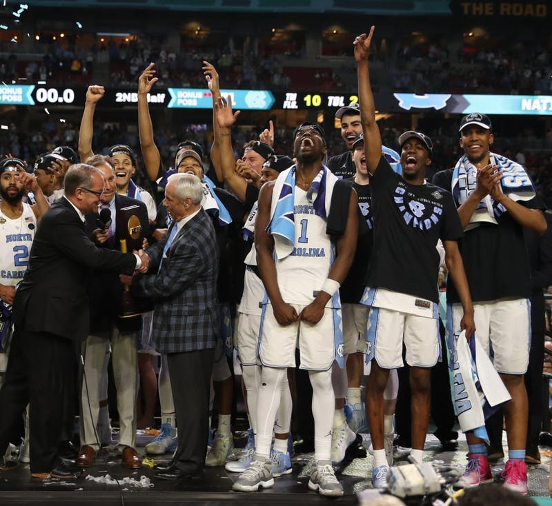 The North Carolina men's basketball team celebrates after defeating Gonzaga 71-65 in the NCAA men's basketball Championship Monday night in Phoenix.