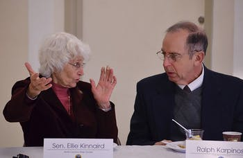 SEn. Ellie Kinnaird and Ralph Karpinos speak during the meeting.