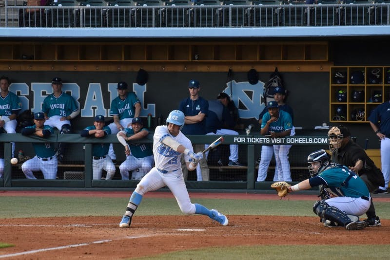 Sophomore Michael Busch (15) swings against UNC-Wilmington on Feb. 20 at Boshamer Stadium.