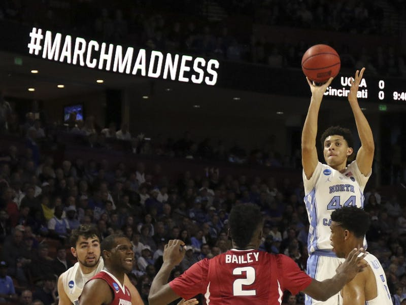 North Carolina wing Justin Jackson (44) pulls up for a three-pointer against Arkansas in the second round of the NCAA Tournament in Greenville on Sunday.