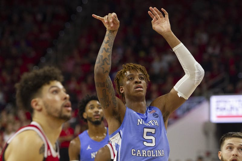 First-year center Armando Bacot (5) shoots the ball during the game against N.C. State in PNC Arena on Monday, Jan. 27, 2020. UNC defeated State for the seventh time consecutively 75-65.