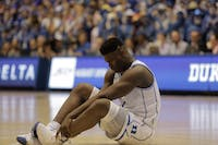 Zion Williamson went down with a knee injury just 34 seconds into the UNC-Duke game on Feb. 20, 2019. He did not return.