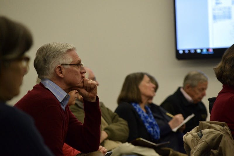 Citizens gather at the Chapel Hill Public Library to discuss the plans of the implementation of Wegman's, a supermarket chain, in Chapel Hill and traffic concerns on Monday, Feb. 25, 2019.