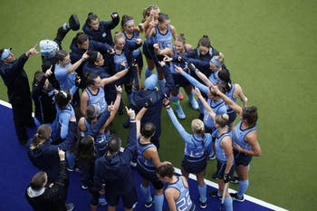 UNC field hockey huddles before the game against William & Mary in round one of the NCAA Tournament at Karen Shelton Stadium Friday. UNC field hockey is advancing to the second round of the tournament after defeating William & Mary 4-0.