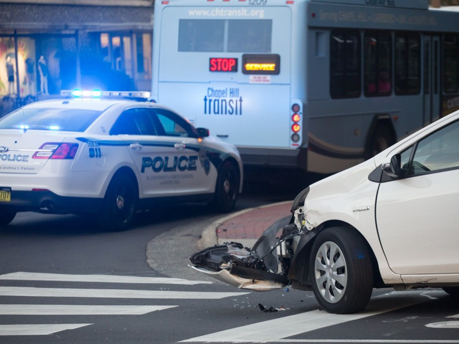 A Chapel Hill transit bus struck a stationaryToyota Prius on South Road on Monday. No one was injured.
