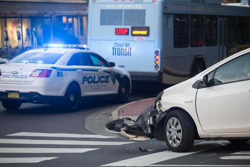 A Chapel Hill transit bus struck a stationary Toyota Prius on South Road on Monday. No one was injured.