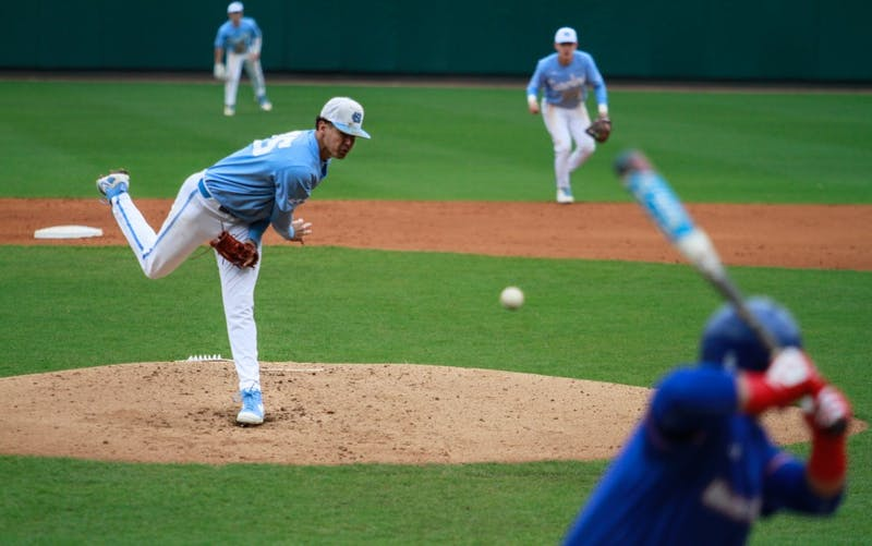UNC pitcher junior Austin Bergner (45) throws a pitch for the Tar Heels against UMass Lowell on Sunday, March 3, 2019 at Boshamer Stadium.