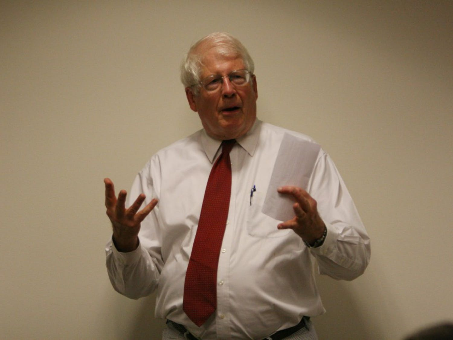 Congressman David Price speaks at a general body meeting of the UNC Young Democrats at the Student Union on Monday night. Price, the representative for North Carolina's 4th District, gave his perspective to a crowded audience and took students' questions.