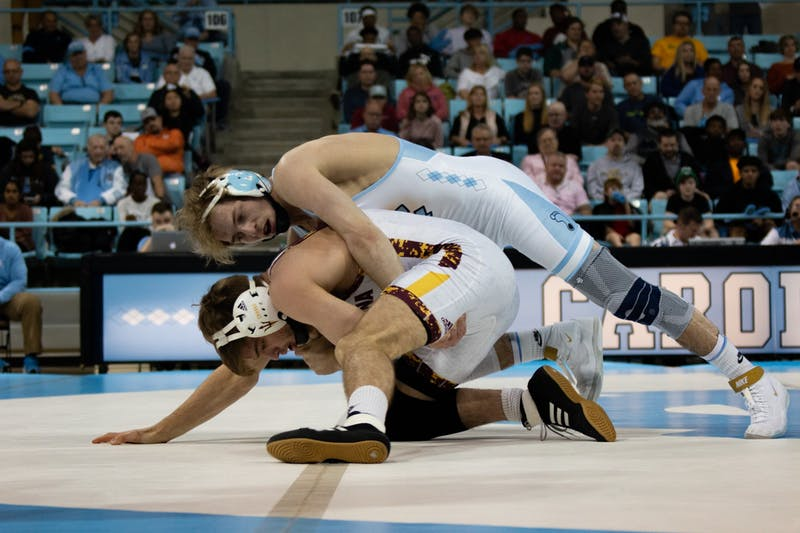 UNC redshirt sophomore Zach Sherman wrestles against Arizona State redshirt junior Cory Crooks in Carmichael Arena on Sunday, Feb. 23, 2020. Zach won this bout but UNC lost 22-9 overall.