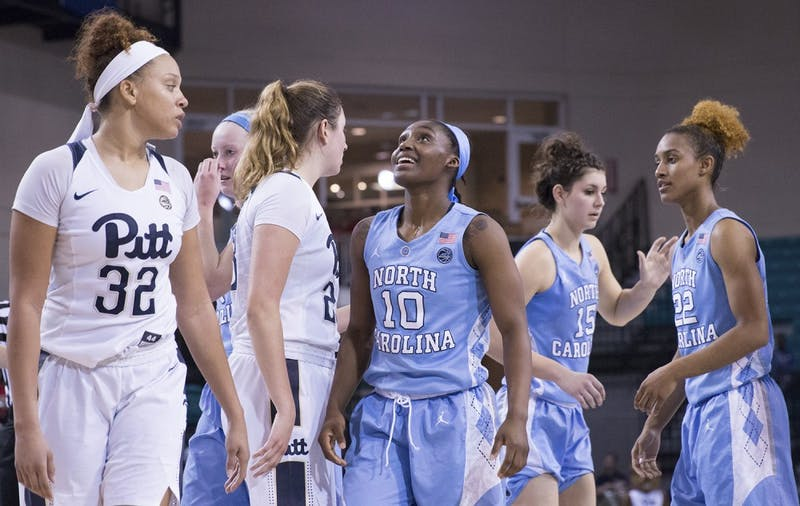 North Carolina guard Jamie Cherry (10) looks up with joy as the Tar Heels closed out a 72-60 win over Pittsburgh in the opening round  of the ACC Tournament in Conway, S.C., on Wednesday.