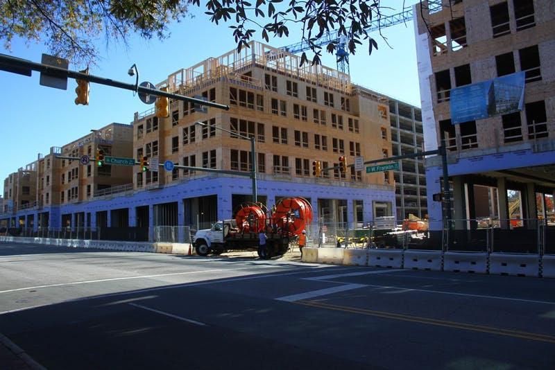 Carolina Square construction site at the intersection of Franklin and Church.