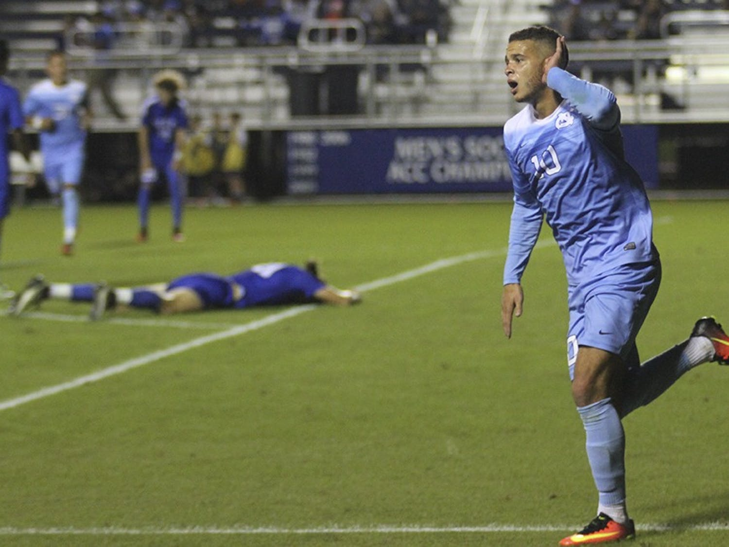 The UNC mens soccer team came back from a 1-0 deficit to defeat Duke with a final score of 2-1. Zach Wright and Nils Bruening scored both goals.