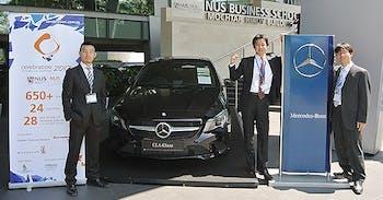 From left to right, graduate students Yohei Yamamoto, Masanori Udagawa and Yasuhiro Oki won more than $8,000 in Singapore. Photo courtesy of Yasuhiro Oki.