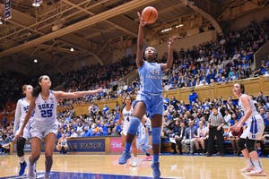 Janelle Bailey (44) finishes a layup in Sunday's loss against Duke in Cameron-Indoor Stadium.