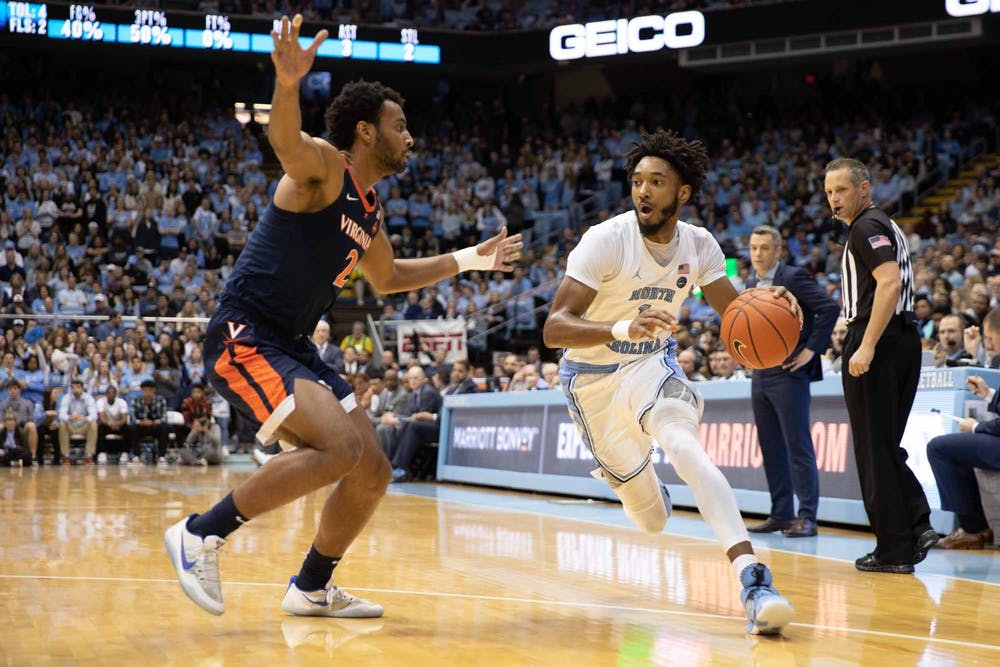 Sophomore guard Leaky Black (1) runs down the court during a game against UVA in the Smith Center on Saturday Feb. 15, 2020. UNC fell 64-62 against UVA.